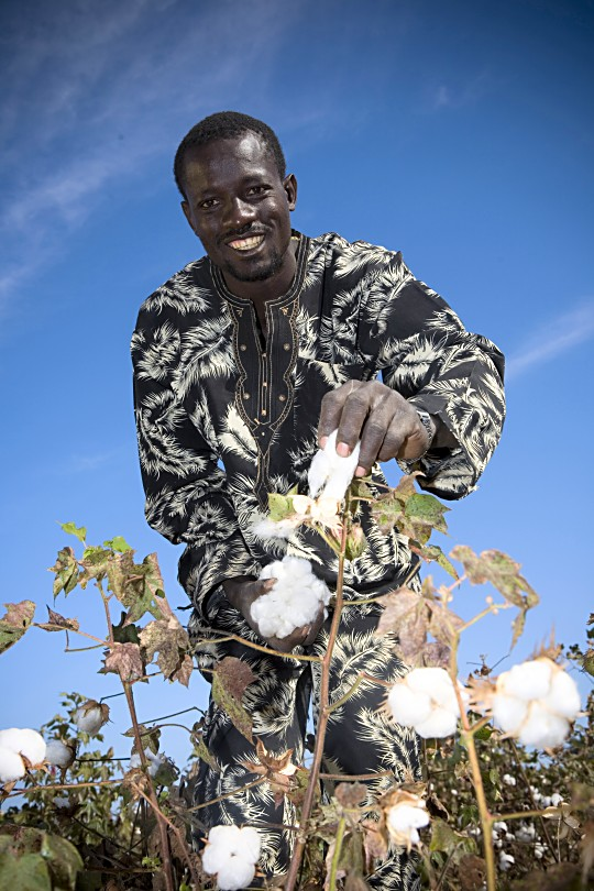PHOTO: Fairtrade cotton farmer, Ibrahim Keita, 28, in Batimakana, Kita, Mali